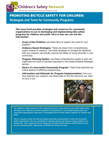 Promoting bicycle safety for children: Strategies and tools for community programs PDF (656.32 KB)