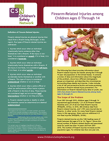 Firearm-Related Injuries among Children Ages 0 Through 14