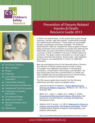 Firearm Safety: Resource Guide 2013