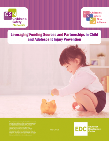 cover of white paper - little girl putting money into piggy bank