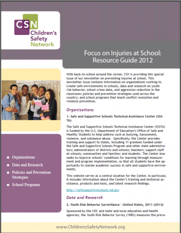 Focus on Injuries at School: CSN Resource Guide 2012