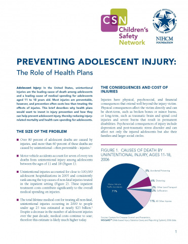 Preventing Adolescent Injury: The Role of Health Plans