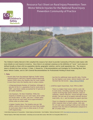 Resource Fact Sheet on Rural Injury Prevention: Teen