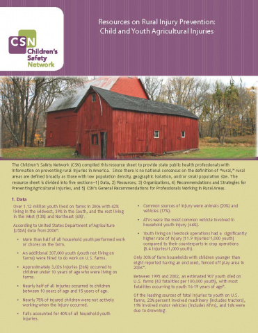 Resources on Rural Injury Prevention: Child and Youth Agricultural Injuries