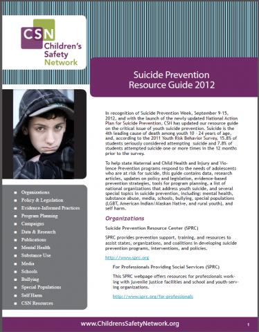 Focus on Youth Suicide Prevention: Resource Guide 2012
