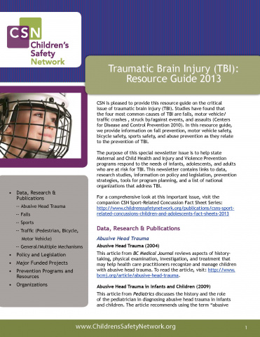 Traumatic Brain Injury (TBI): Resource Guide 2013