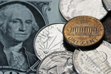 image of coins and a dollar bill