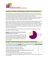 CSN Bullying Prevention Environmental Scan Summary Findings
